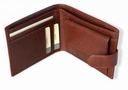Pánská hnědá kožená peněženka s kapsami na kreditní karty a ...