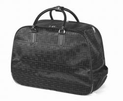Cestovní taška na kolečkách v černé barvě se vzorkem.